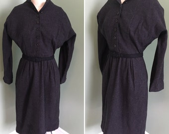 1940's Grey Wool Flecked Dress with Batwing Sleeves and Pockets / vintage 1940's dress / 1940's dress