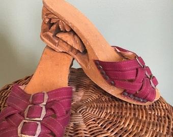 1940's Tiki wedge sandals / vintage 1940's sandals / 1940's sandals
