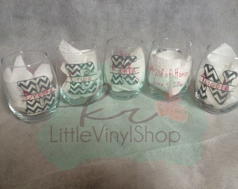 FIVE wine glasses