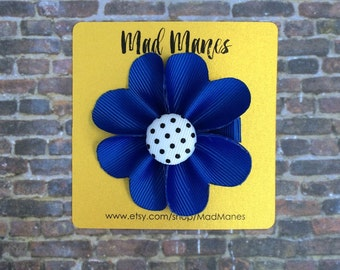 blue flower bow, blue bow, blue girls bow, blue baby bow, flower hair accessories, blue flower, small blue bow, small girls bow, toddler bow