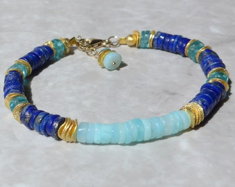 Peruvian Opal Bracelet, Blue Opal Bracelet, Lapis Lazuli Bracelet, Apatite Gemstone Bracelet, Gold Bracelet