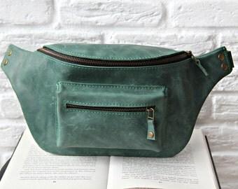 Leather belt bag, green fanny pack, women hip bag, leather waist bag, handmade bag, handsfree pack, big fanny pack. 07002