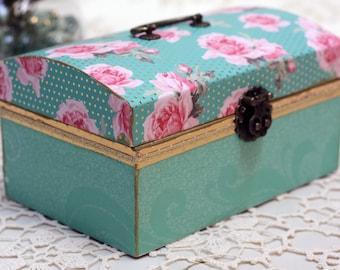 Teal and Pink Medium Storage Box