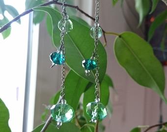 Earrings green - glass beads