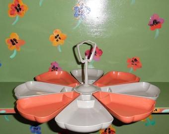 Plastic Flower Serving Tray Platter Grey Red Orange Modern Table Centerpiece Kitchen Home Decor Vintage Mid Century Modern Retro