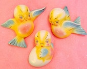 Goldhammer Ceramics Anthropomorphic Bird Family Wall Pockets made in Japan circa 1950s