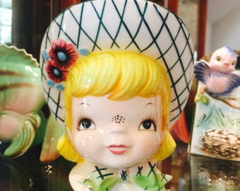 RARE Lefton Miss Dainty Planter with Blond Hair and Hat made in Japan circa 1950's