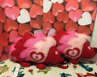 Red with Pink Hearts Valentine Hedgehog.