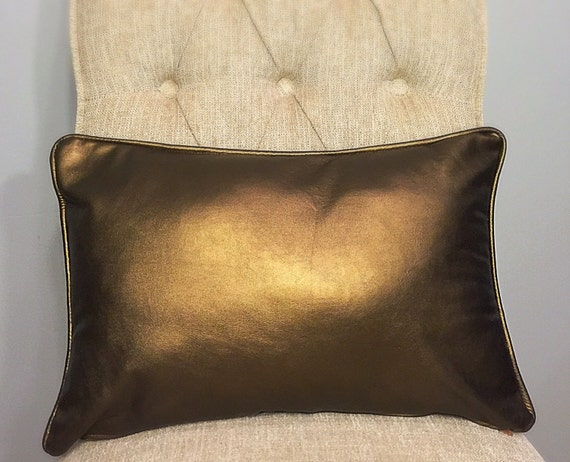 Vinyl Throw Pillows : Bronze Faux Leather Vinyl pillow cover by FantasyFabricDesigns