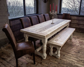 Rustic Refectory Dining Set With Reclaimed Solid Pine Top, Bench & 4 Faux Leather Chairs