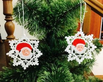 Crochet Snowflakes Santa Claus Christmas Decoration Santa Crochet Gift Crochet Christmas Ornament Christmas Star Christmas chaplet