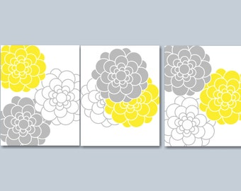 Yellow Grey Bedroom Wall Art, Yellow Grey Floral Wall Art, Yellow Grey Bedroom Decor, Lola Wall Art- UNFRAMED Set of 3