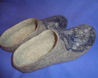 "Felted slippers, Men""s wool slippers, felted wool house shoes"