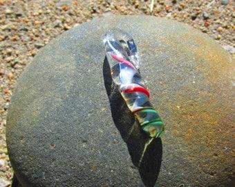 Light Blue, Red, & Green Spiral Glass Pendant