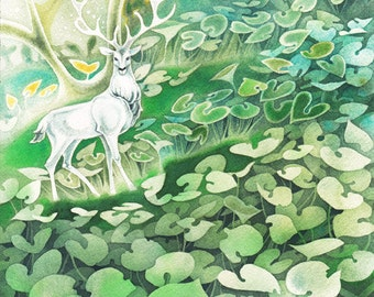 White Stag Deer Forest Fairytale Celtic Storybook Print of Original Watercolor Illustration