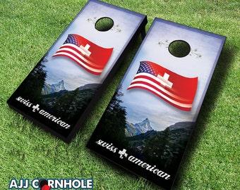 Swiss American Cornhole Set With Bags - Cornhole Set - Swiss American Cornhole - Cornhole Set - Bean Bag Toss Set - Baggo