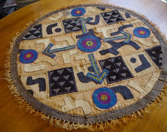 Vintage Round African Kuba Weaving Wall Hanging Table Covering