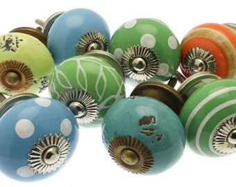 Set of 8 'Rio Olympics' themed collection in vibrant blues and greens with a citrus twist! Ceramic Cupboard Knobs - MG-267