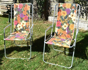 2 x Vintage Floral  Folding Camping/Garden Chairs Danish in Good Condition