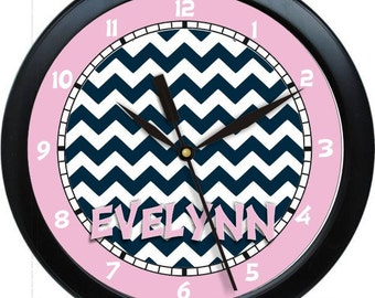 "Pink and Black Chevron 10"" Wall Clock Personalized Girls Room Decor Gift"