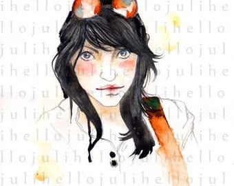 Girl - watercolor - illustration - digital print - instant download