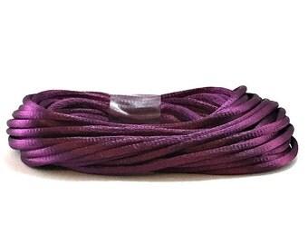 Purple Satin Rattail #2 / Purple Satin Cording / 3mm Purple Cording / Purple Rattail / Purple Cording / 20' Cording