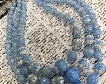 Vintage pale blue beaded necklace