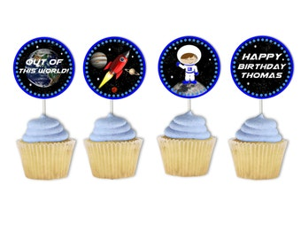 Planet Cupcake Toppers, Astronaut Cupcake Toppers, Solar System Party, Printable, Space Cupcake Topper, Party Circles, Planet Stickers