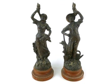 French Antique Spelter Statues / French Art Nouveau Antique Statues