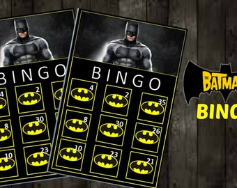 BatmanBingo Game with 10 unique Bingo cards and 30 medium calling cards - Printable, INSTANT DOWNLOAD