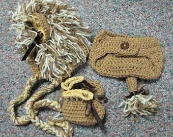 Crochet Lion Hat & Diaper Cover Set