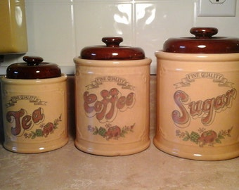 70s Ceramic Cannister Set, Sugar, Coffee, Tea Groovy Cannisters, Fine Quality