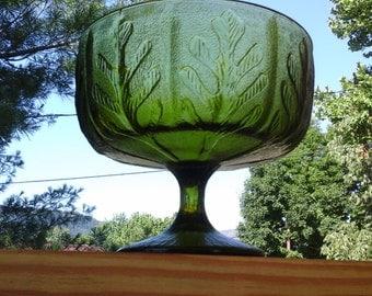 Green Leaf Compote, 70s FTD Olive Green Glass Footed Pedestal Bowl with Modern Leaf Design