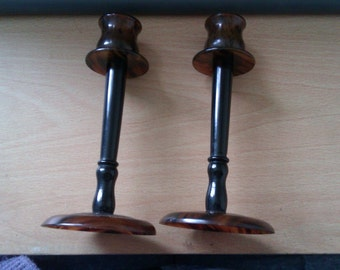 pair of vintage tortoise shell coloured candlesticks