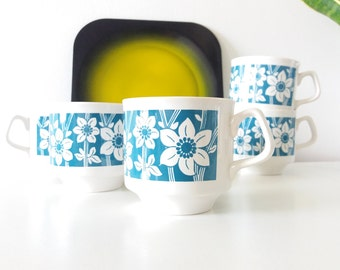TAMS tea cups with blue floral pattern   1960s 70s
