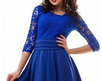 Cobalt blue dress / Bridesmade dress / Jersey dress / Autumn dress