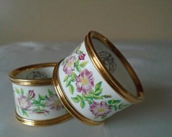 pair of enamel napkin rings pink rose design