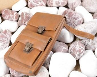 Wallet Briefcase Messenger Bag Leather wristlet, mens leather wristlet, small leather wristlet, brown leather wristlet wrist bag brown bag