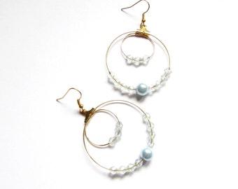 Creole, Creole Golden, Golden and blue hoops hoops beads