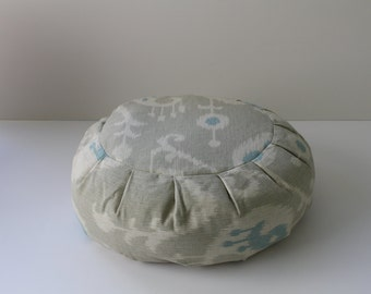 Round Zafu Meditation Cushion - Ocean Ikat