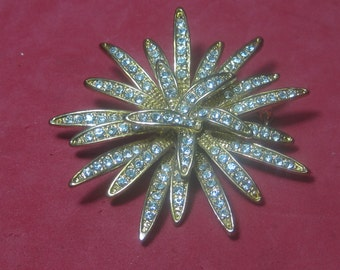 Vintage Costume Brooch  White Jewels