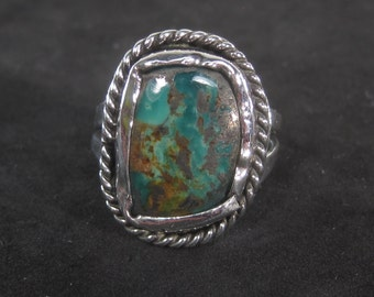 Vintage Sterling Silver RARE Turquoise Ring Size 10