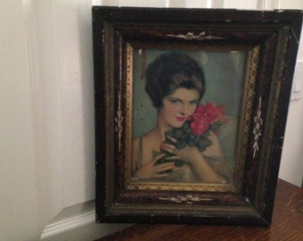 Antique picture frame with fabulous vintage print