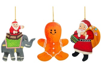 """5"""" Set of 3 Santa Claus, Gingerbread and Elephant Wooden Christmas Ornaments- SKU # CTZ-M"""