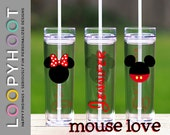 Personalized 16 oz Skinny Acrylic Tumbler--MOUSE LOVE II