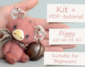 """Complete Sewing Kit """"Miniature Piggy"""" by ABCbears (8 cm / 3.15 in). Teddy Toy E-Pattern Included"""