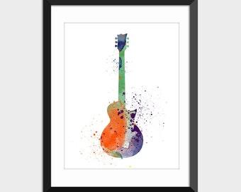 Guitar Art Music Watercolor Print, Musical Instrument Printable Art, Colorful Instant Digital Download