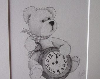Teddy Bear Pencil Drawing, Teddy Bear Drawing, Pencil Sketch, 10x8 Drawing, Teddy Bear Pictures