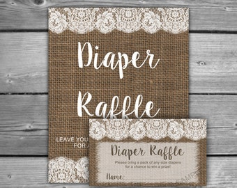 Burlap And Lace Baby Shower Diaper Raffle Tickets U0026 Diaper Raffle Sign    Printable   Instant