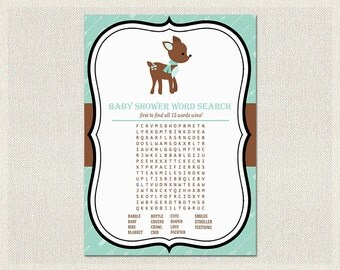 Word Search | Deer Baby Shower Games Green Brown | Word Search quiz  Gender Neutral Baby Shower BS-181